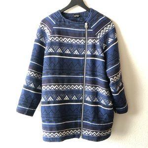 Topshop Blue Tribal Asymmetrical Zip Jacket Sz 8